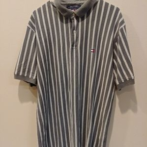 Tommy Hilfiger Gray White Stripe Polo Size XL